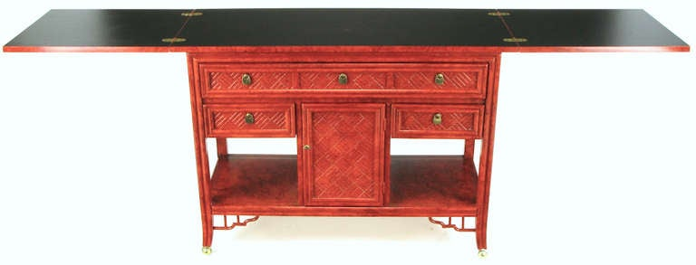 Mid-20th Century Glazed Cinnabar Flip-Top Chinoiserie Bar Cart/Server For Sale