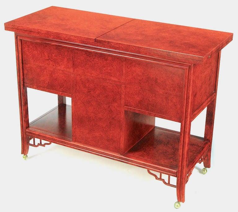 Glazed Cinnabar Flip-Top Chinoiserie Bar Cart/Server For Sale 1
