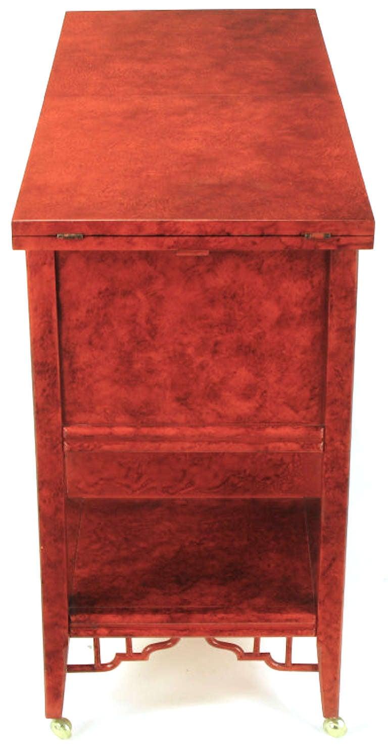 Brass Glazed Cinnabar Flip-Top Chinoiserie Bar Cart/Server For Sale