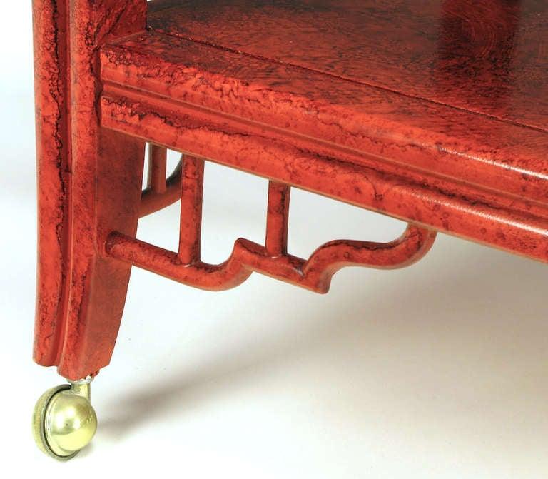 Glazed Cinnabar Flip-Top Chinoiserie Bar Cart/Server For Sale 3