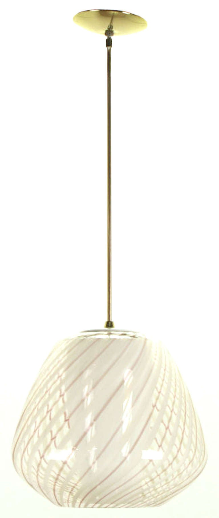 lightolier hand blown striped glass globe pendant light at 1stdibs