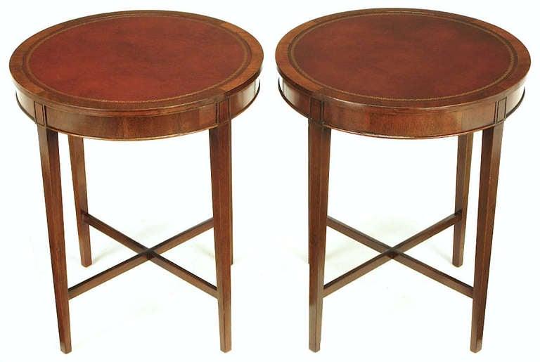 Elegant Pair Zangerle U0026 Peterson Mahogany U0026 Tooled Leather End Tables 2