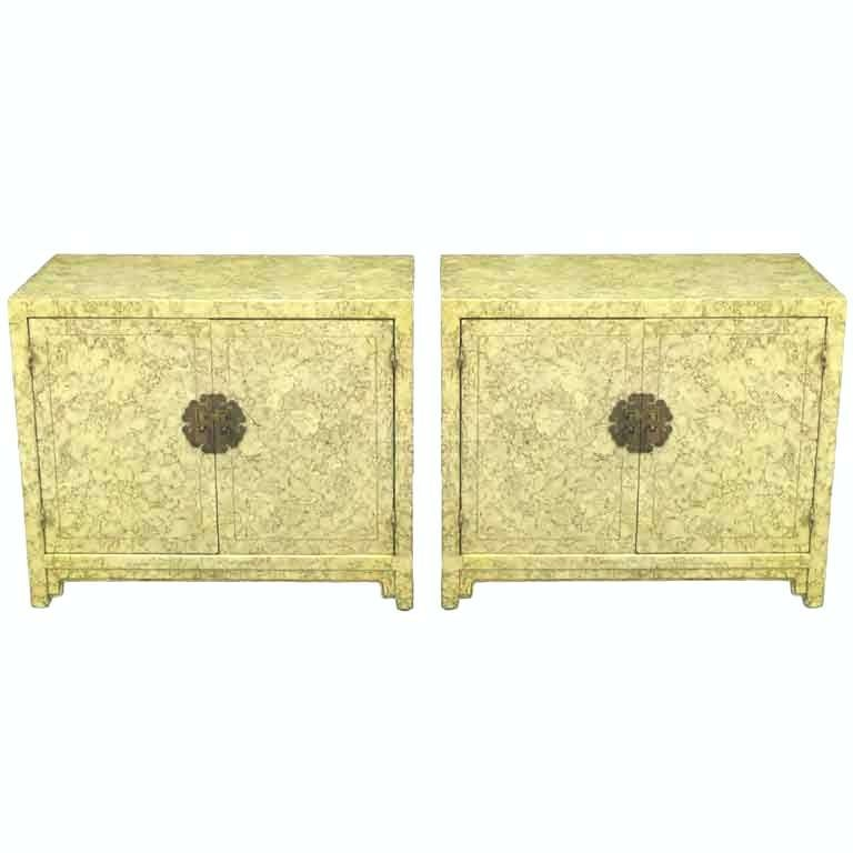 "Pair of Henredon ""Circa '75"" Marbleized Lacquer Asian Form Cabinets"
