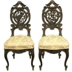 Pair of Early 1900s Hand-Carved Walnut French Regency Music Chairs