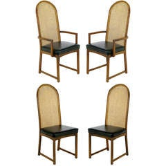 Four Milo Baughman Walnut & Cane Arch-Back Dining Chairs