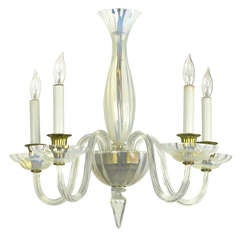 Murano Opaline Glass Five-Arm Empire Style Chandelier