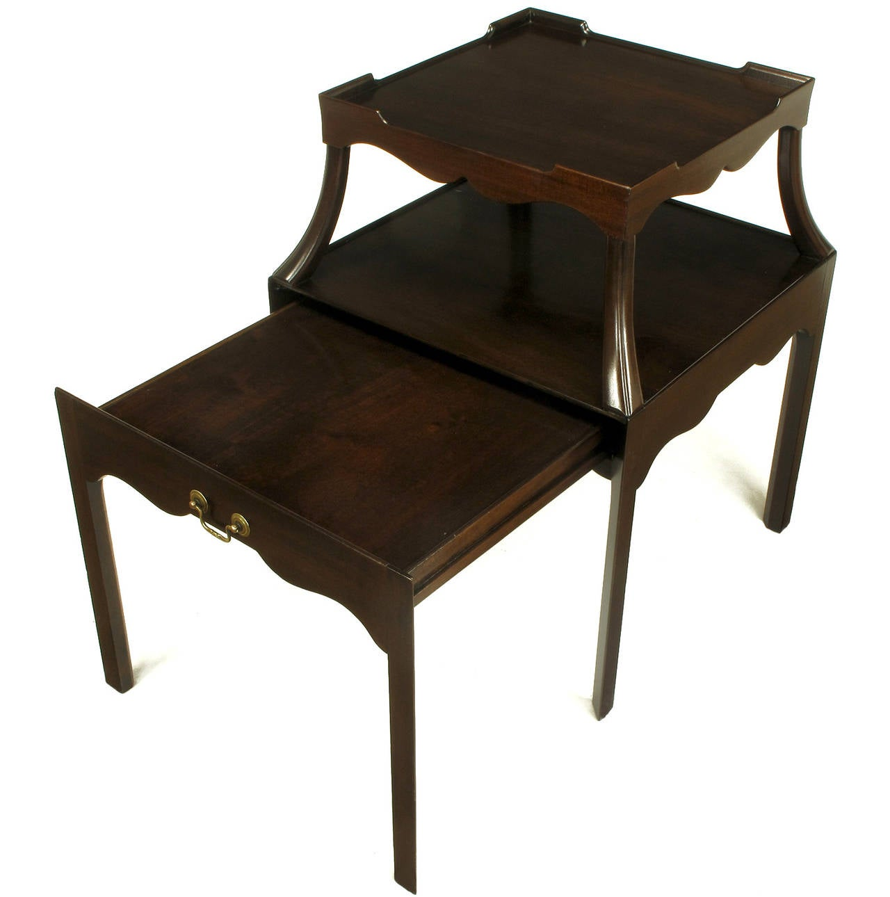 Pair of 1940s Two-Tier Mahogany End Tables with Extensible Nesting Top 4