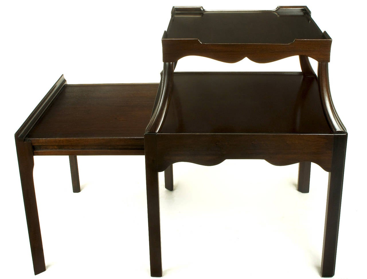 Pair of 1940s Two-Tier Mahogany End Tables with Extensible Nesting Top 6