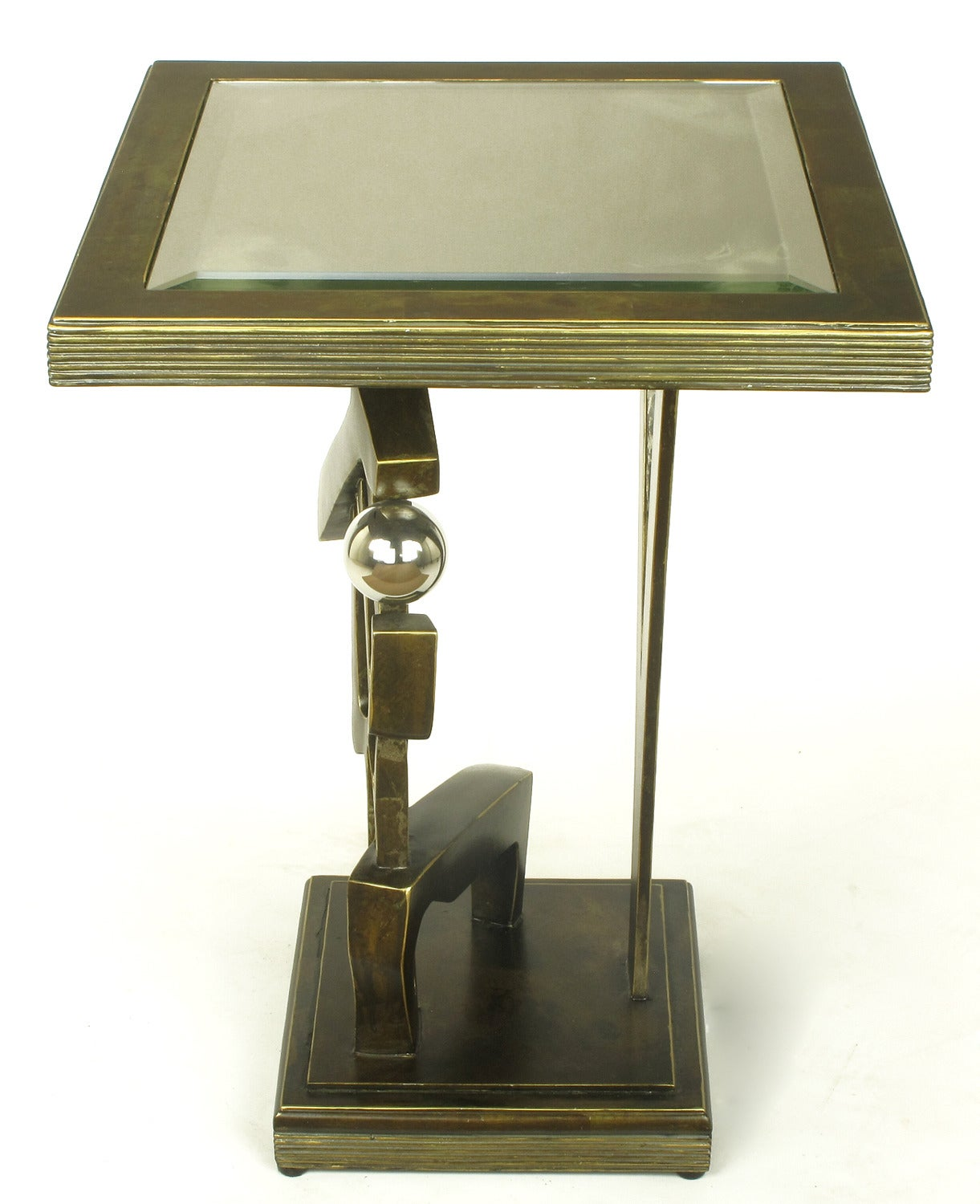 Bronzed Metal and Resin Artisan Sculpture Side Table with Chrome Ball In Excellent Condition For Sale In Chicago, IL