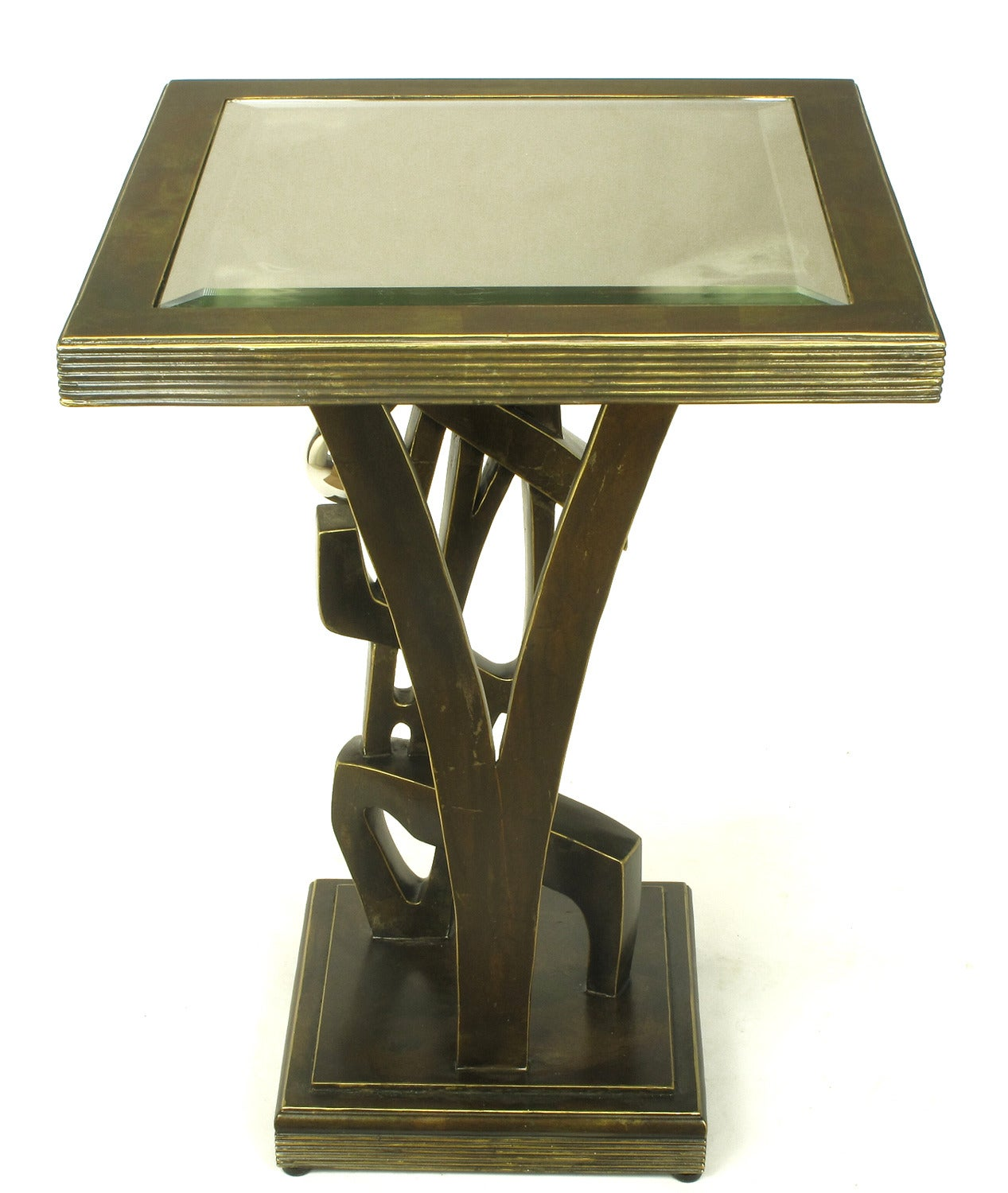 Late 20th Century Bronzed Metal and Resin Artisan Sculpture Side Table with Chrome Ball For Sale