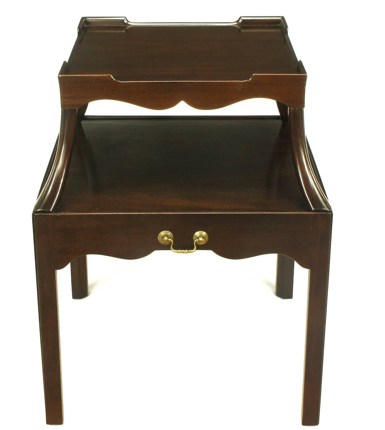 Pair of 1940s Two-Tier Mahogany End Tables with Extensible Nesting Top 3