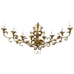Wide Palatial Nine-Light Italian Gilt Tole Metal Sconce