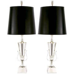 Pair of Tommi Parzinger Silver Plated Lamps for Lightolier