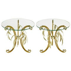 Pair of Italian Tole Metal and Silver Leaf Foliate End Tables