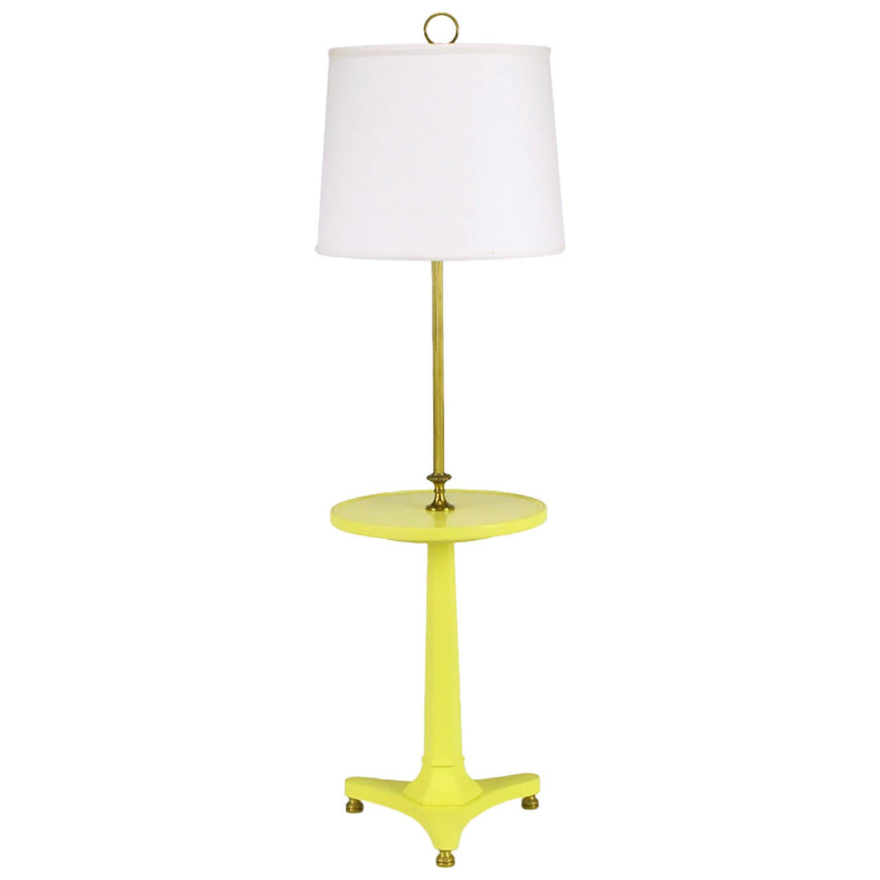 Yellow lacquered wood and brass regency floor lamp at 1stdibs for Macey floor lamp yellow