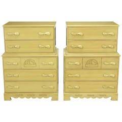 Pair of Five-Drawer Tall Chests with Propeller Pulls and Sailboat Reliefs