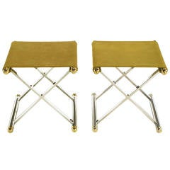 Pair of Chrome and Brass X-Base Sling Seat Stools