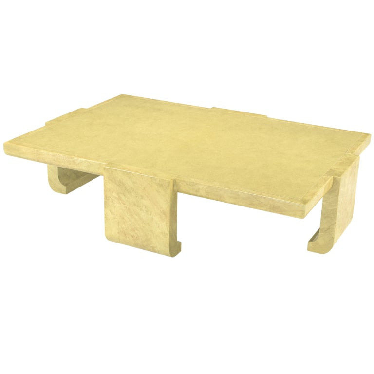 Alessandro For Baker Lacquered Goatskin Coffee Table At 1stdibs