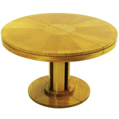 Rare Charles Pfister Primavera Mahogany Sunburst Dining Table.