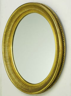 Carved Wood & Gilt Oval French Regency Style Mirror