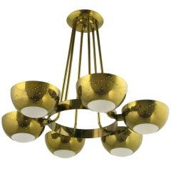 Gerald Thurston Lightolier Pierced Brass Six-Light Chandelier