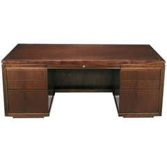 Edward Wormley Mahogany Executive Desk With Brass Inlay