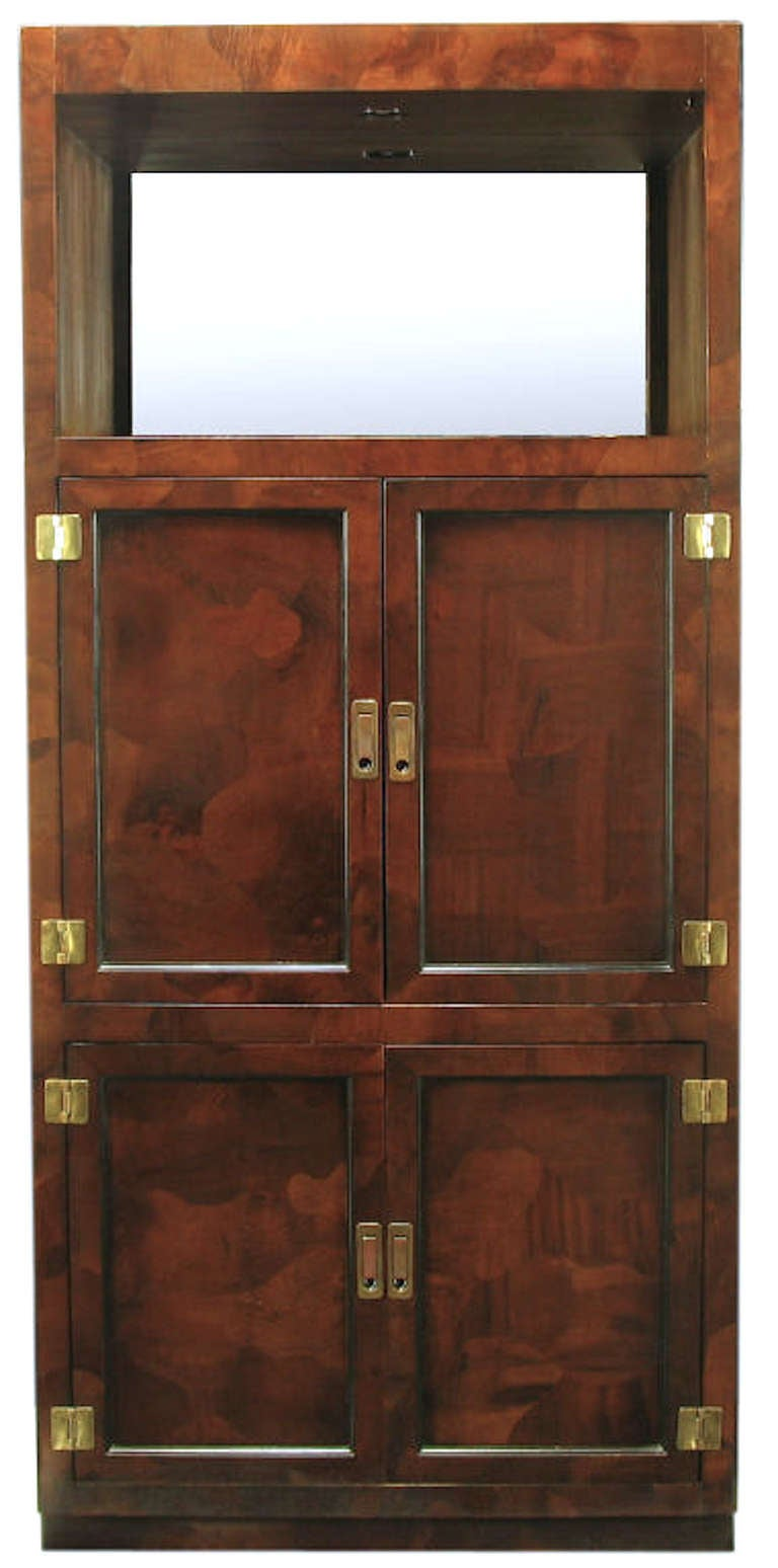 American Trio of Hekman Tall Campaign Cabinets in Patchwork Burl For Sale