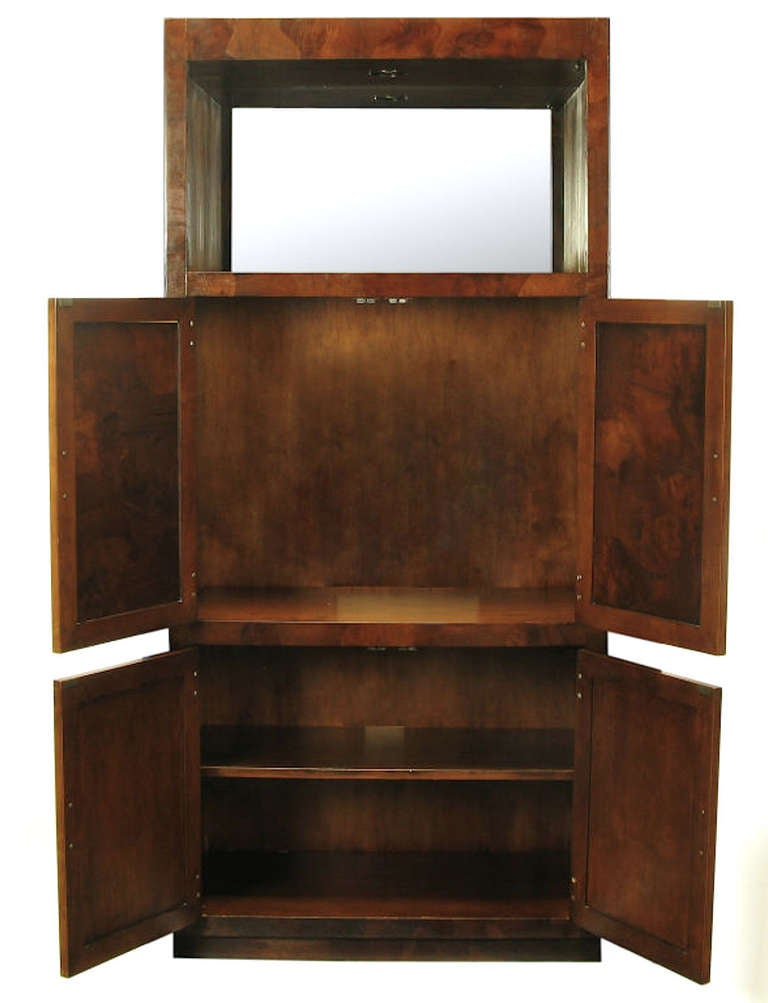 Trio of Hekman Tall Campaign Cabinets in Patchwork Burl In Good Condition For Sale In Chicago, IL
