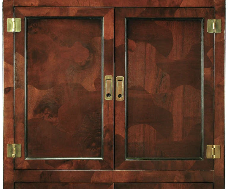 Trio of Hekman Tall Campaign Cabinets in Patchwork Burl For Sale 1