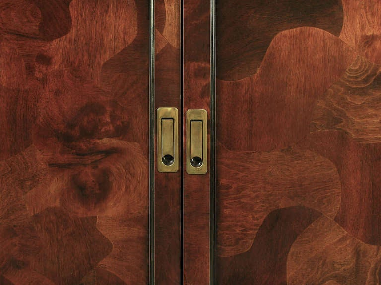 Trio of Hekman Tall Campaign Cabinets in Patchwork Burl For Sale 2