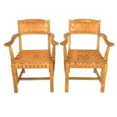 Pair of Rustic White Oak and Woven Leather Armchairs
