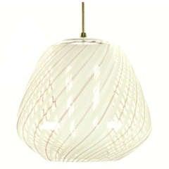 Large Lightolier Hand Blown Striped Glass Globe Pendant Light