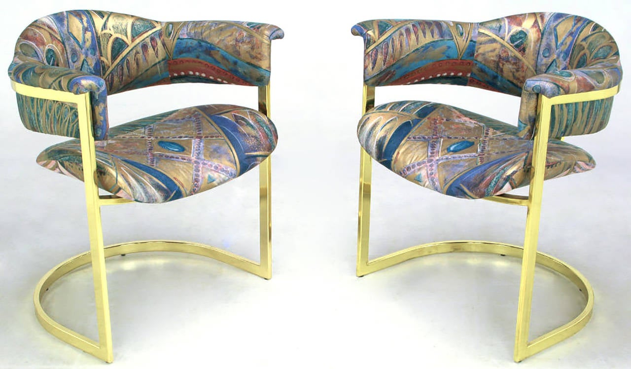 American Pair of Brass Cantilevered Armchairs with Barrel Backs For Sale