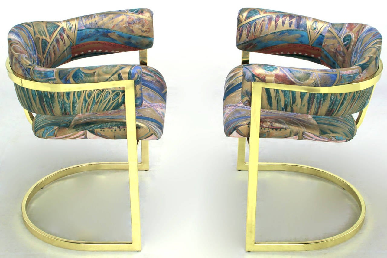 Pair of Brass Cantilevered Armchairs with Barrel Backs In Excellent Condition For Sale In Chicago, IL