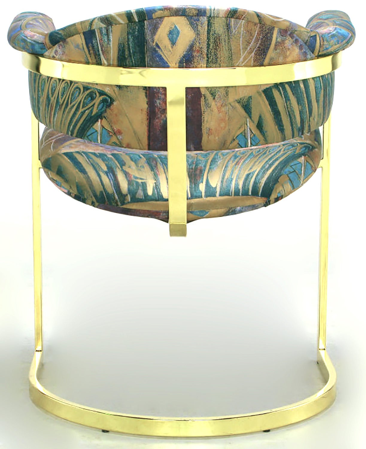 Late 20th Century Pair of Brass Cantilevered Armchairs with Barrel Backs For Sale