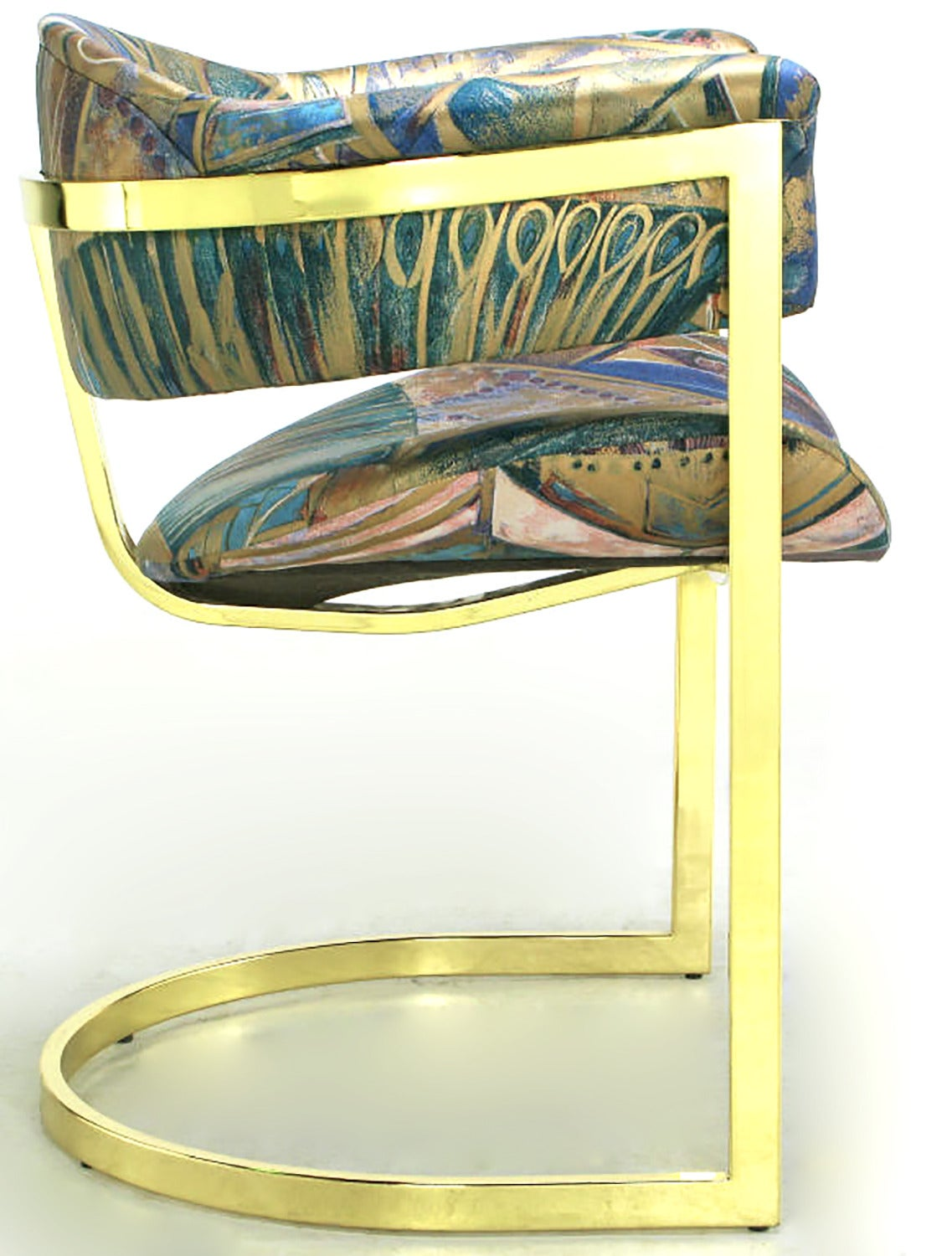 Bentwood Pair of Brass Cantilevered Armchairs with Barrel Backs For Sale