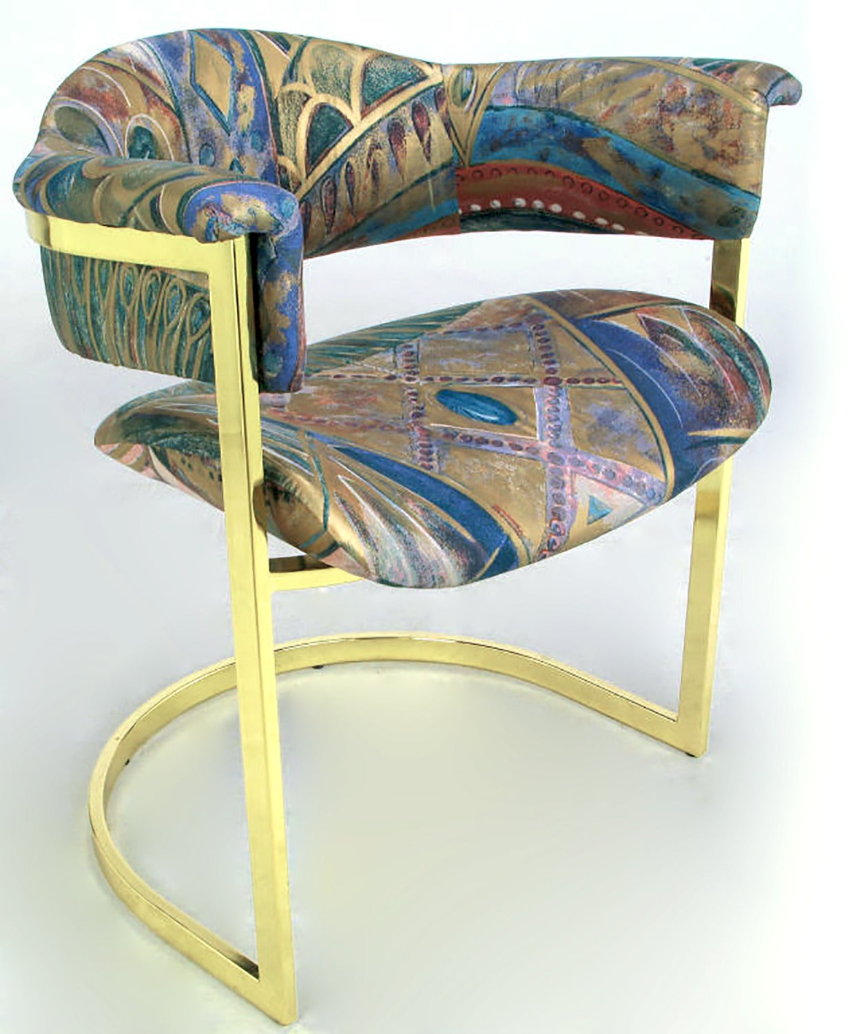 Pair of Brass Cantilevered Armchairs with Barrel Backs For Sale 1