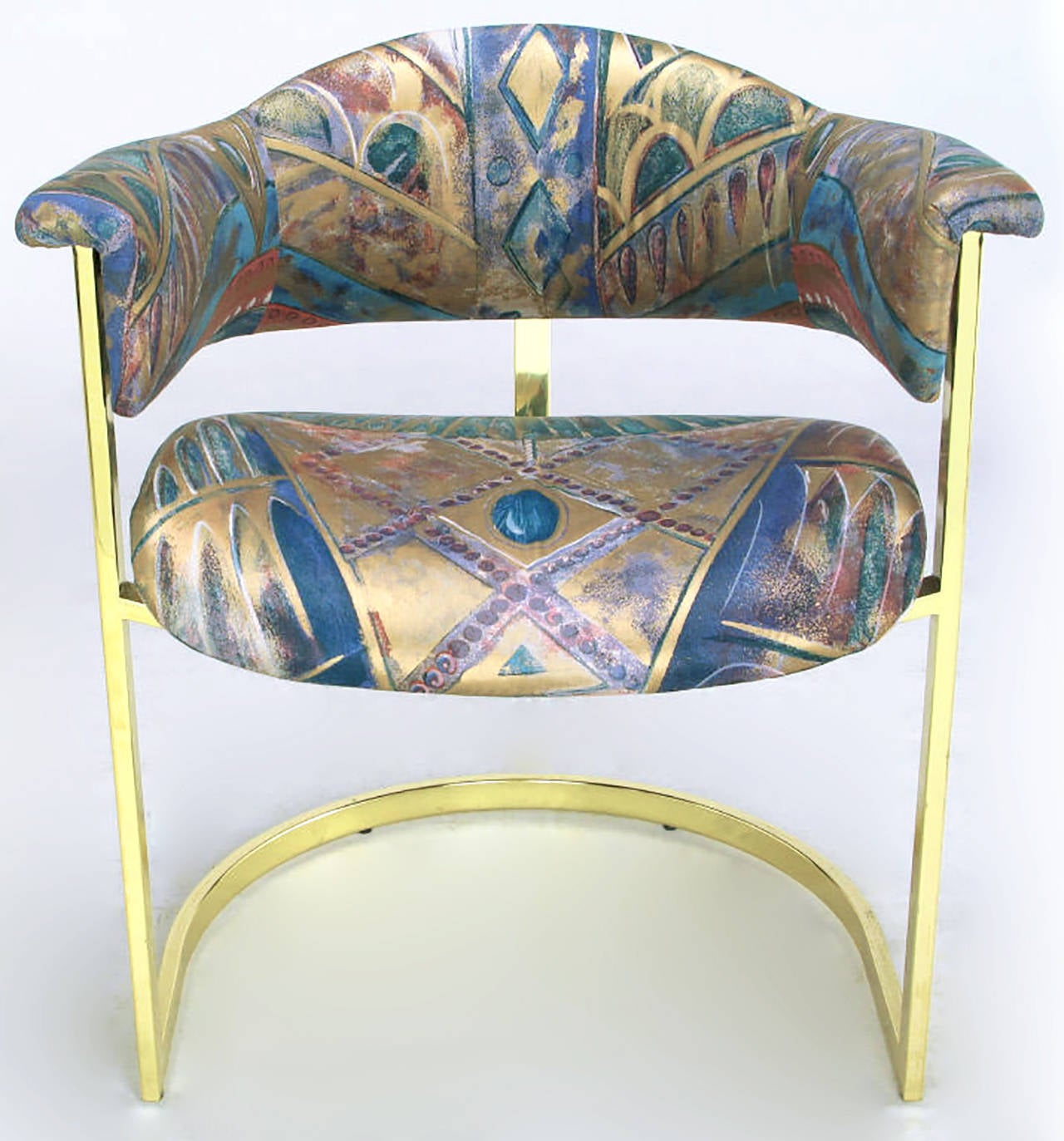 Pair of Brass Cantilevered Armchairs with Barrel Backs For Sale 2