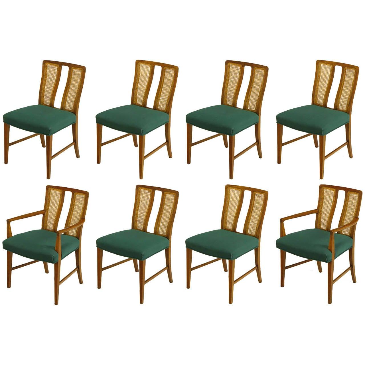 Eight Rare Baker Furniture Split Back Walnut Dining Chairs