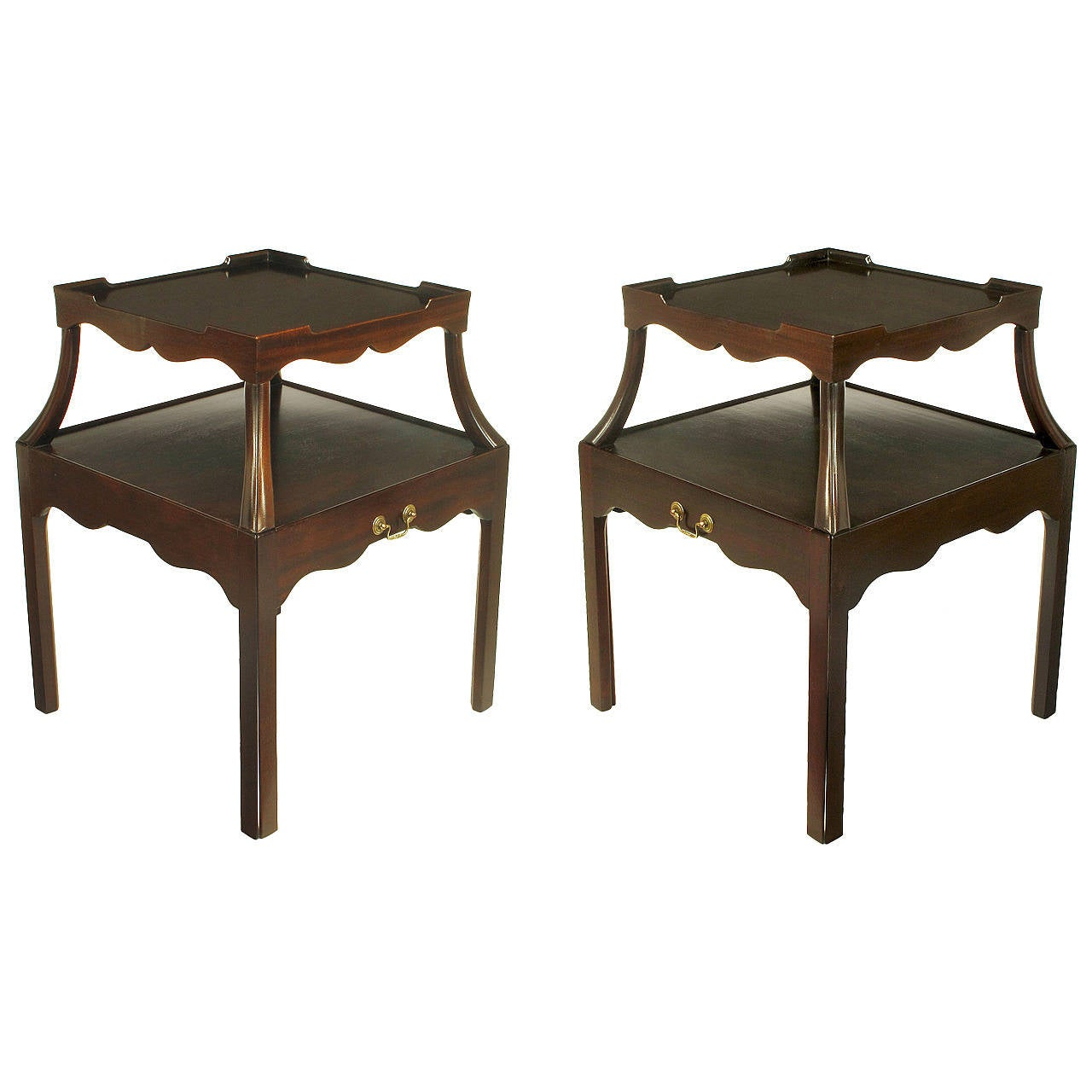 Pair of 1940s Two-Tier Mahogany End Tables with Extensible Nesting Top 1