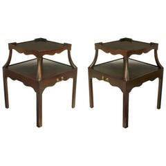 Pair of 1940s Two-Tier Mahogany End Tables with Extensible Nesting Top