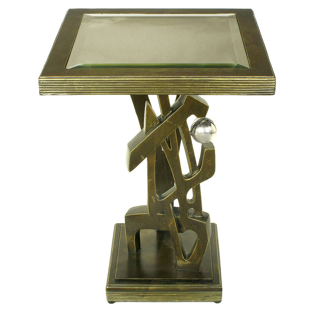 Bronzed Metal and Resin Artisan Sculpture Side Table with Chrome Ball For Sale