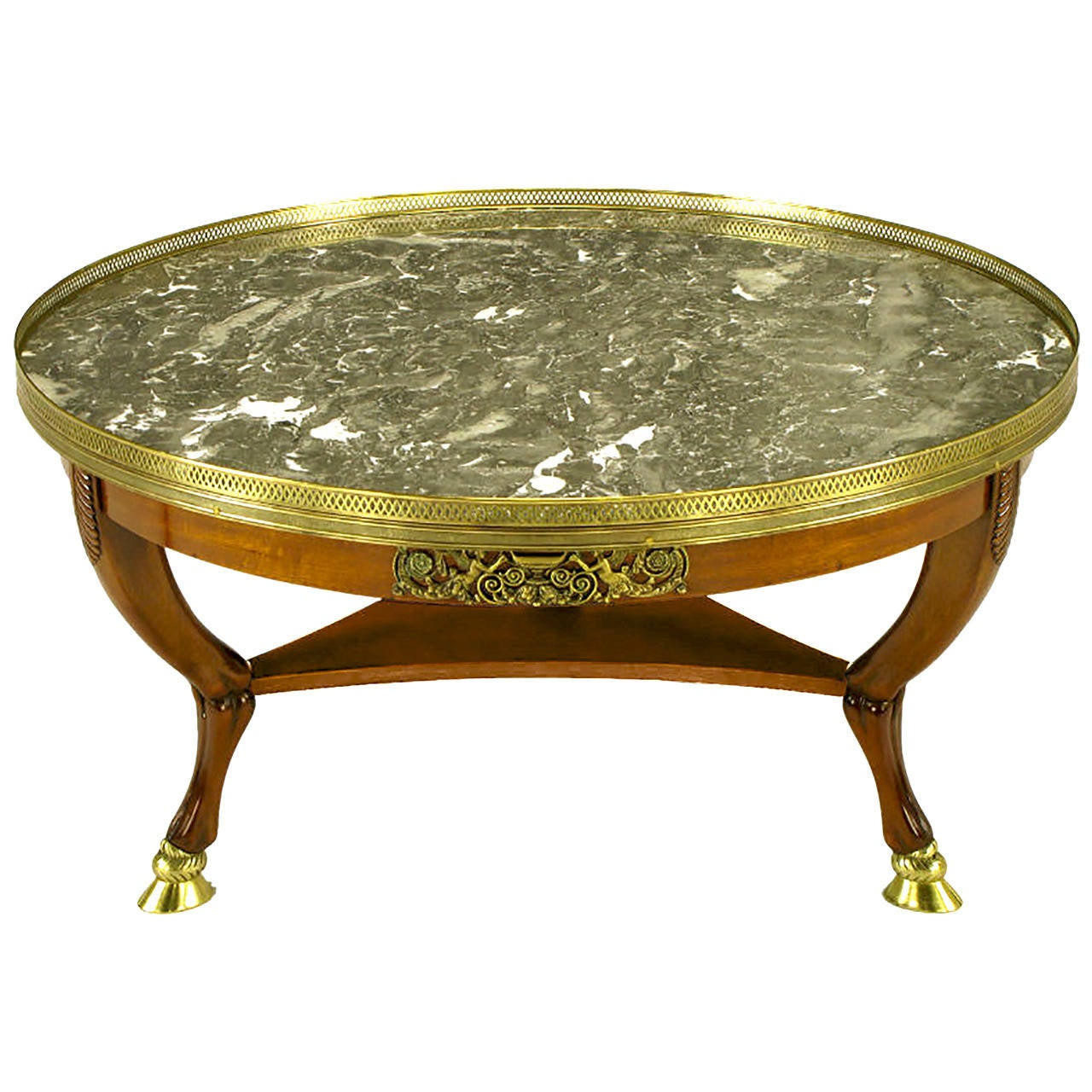 Empire Coffee Table Mahogany And Marble 1940s Empire Coffee Table With Bronze Hoof