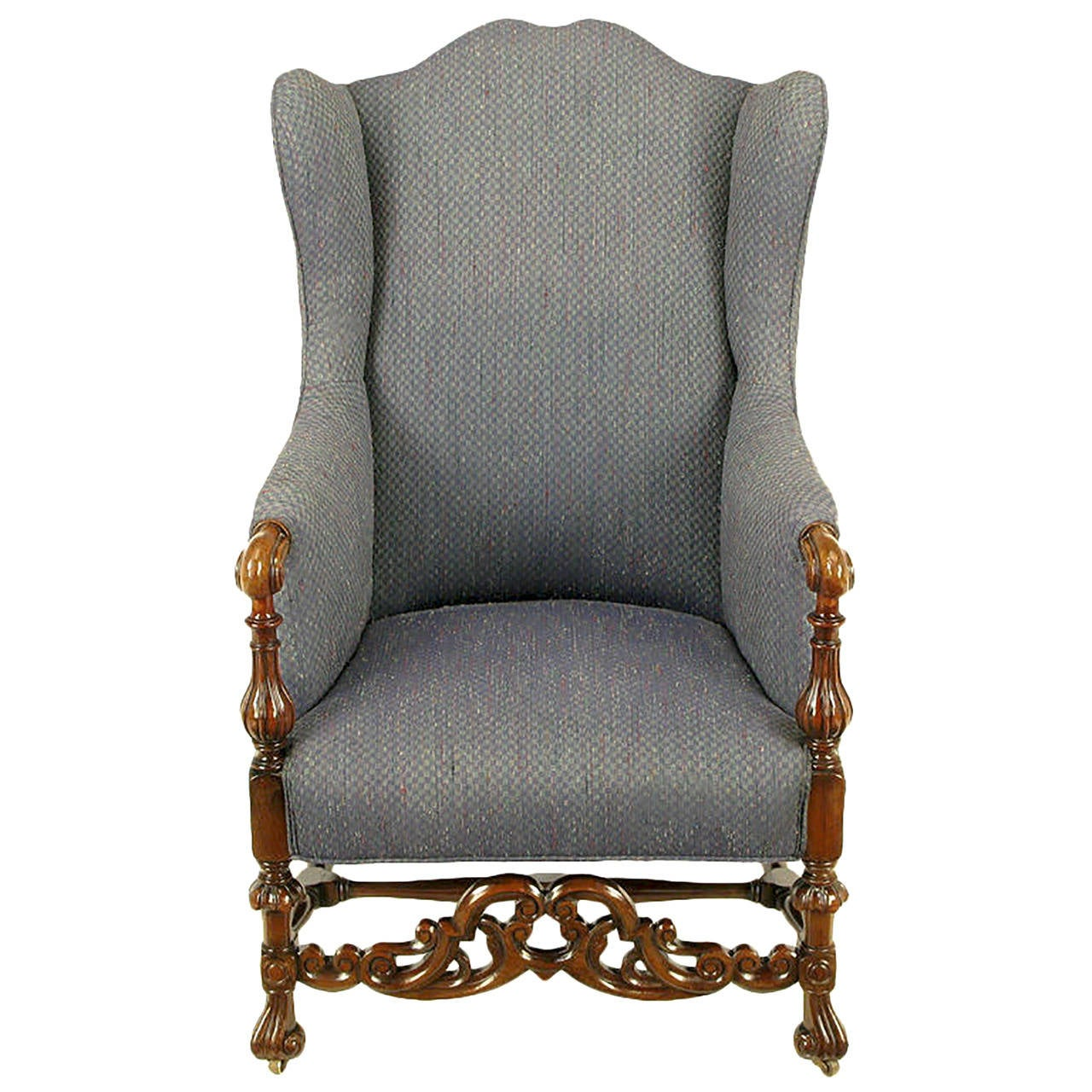 Italian Regency Upholstered Wing Chair With Carved Wood Frame For Sale