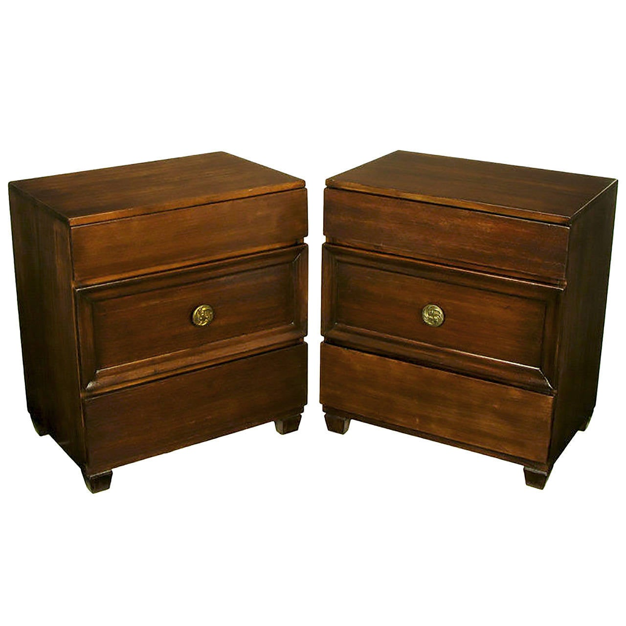 Pair of Lacquer Glazed Dark Mahogany Three-Drawer Commodes