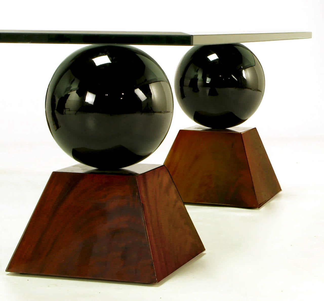 Italian Coffee Table of Glass Top over Black Spheres on Mahogany Pyramids For Sale 1