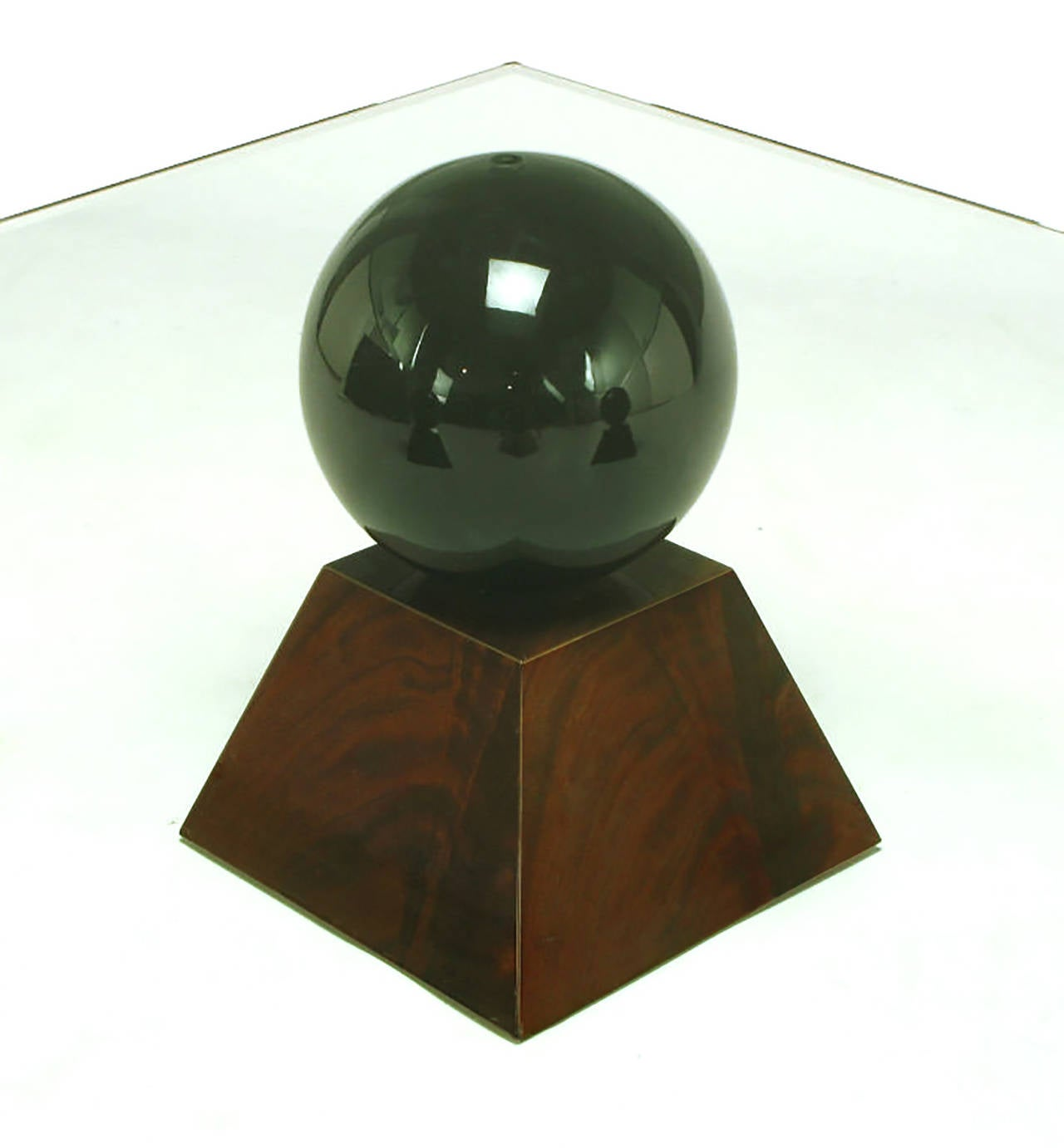 Italian Coffee Table of Glass Top over Black Spheres on Mahogany Pyramids For Sale 3