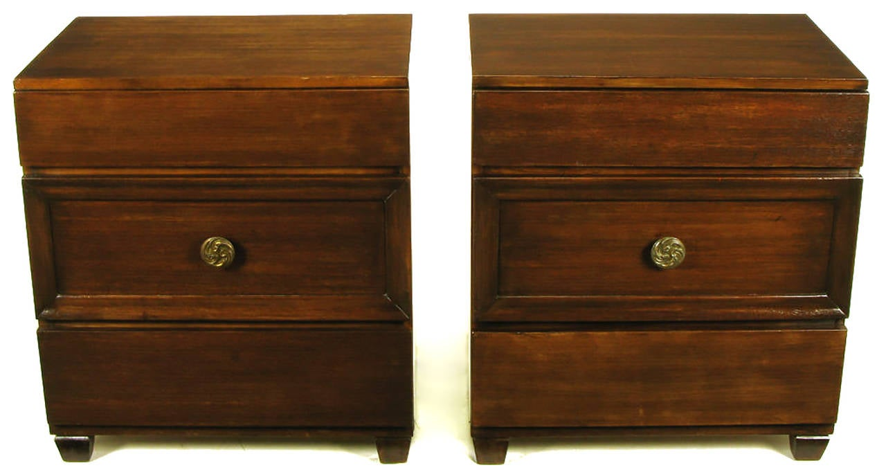 American Pair of Lacquer Glazed Dark Mahogany Three-Drawer Commodes For Sale