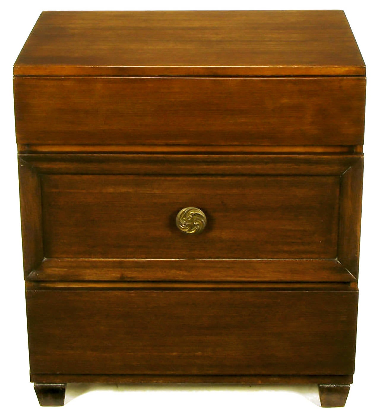 Pair of Lacquer Glazed Dark Mahogany Three-Drawer Commodes In Good Condition For Sale In Chicago, IL