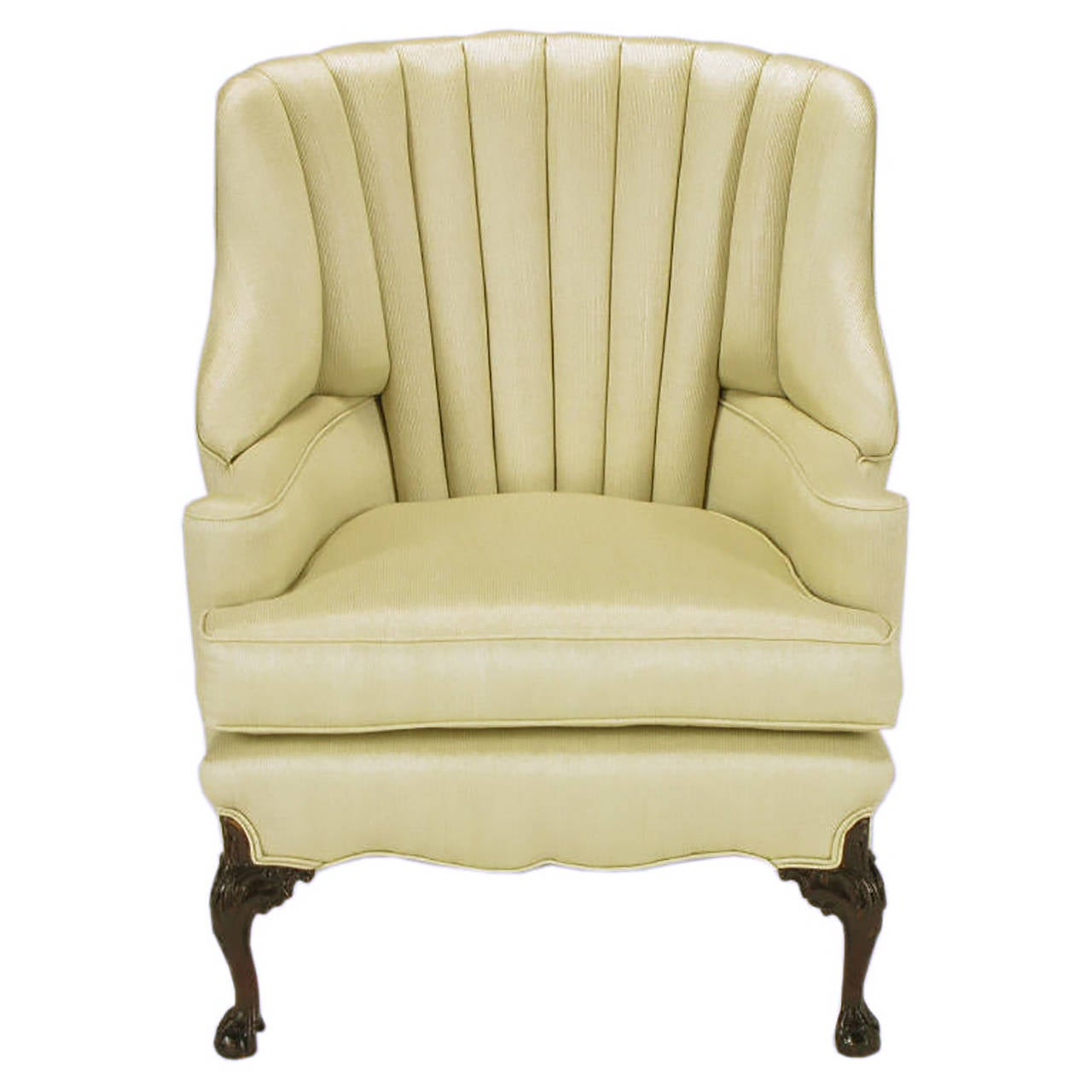 American 1930s Channel Back Claw Foot Georgian Wingback Chair For Sale